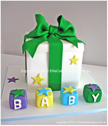 Gift Box with cubes Baby Shower Cake