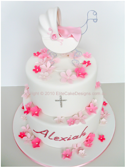 Baby Pram Christening Cake for girls in Sydney