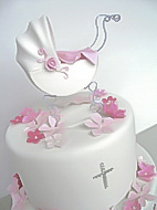 Baby Pram Christening Cake for boy or girl