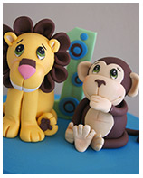 Lion and Monkey 1st Birthday cake