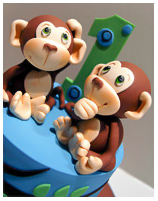 Monkey 1st Birthday Cake for twins