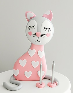 Pink cat baby birthday cake