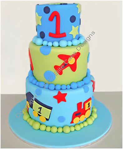 Transport kids birthday cake
