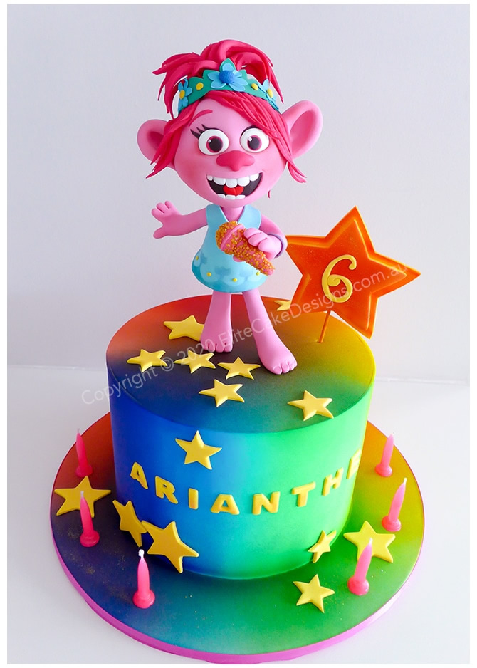Trolls world tour girls birthday cake in Sydney