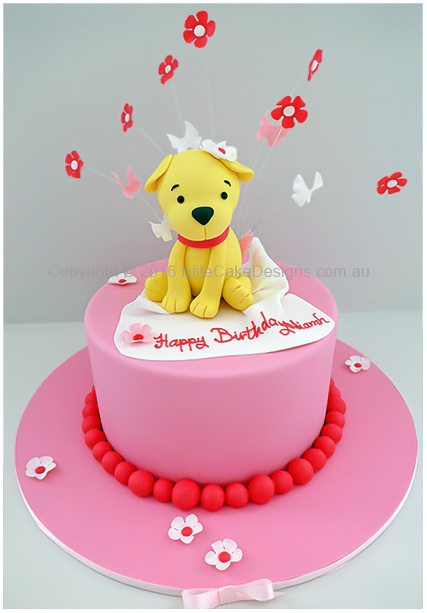 Little Doggy birthday cake for a girl