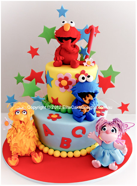 Sesame St Elmo Birthday cake for kids