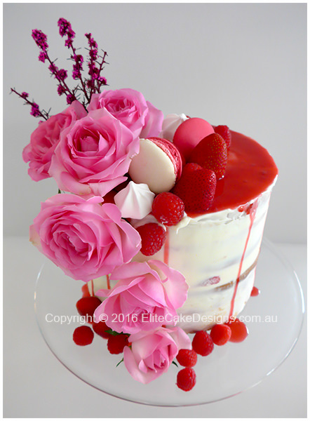 Naked cake with roses for a girl-womans birthday