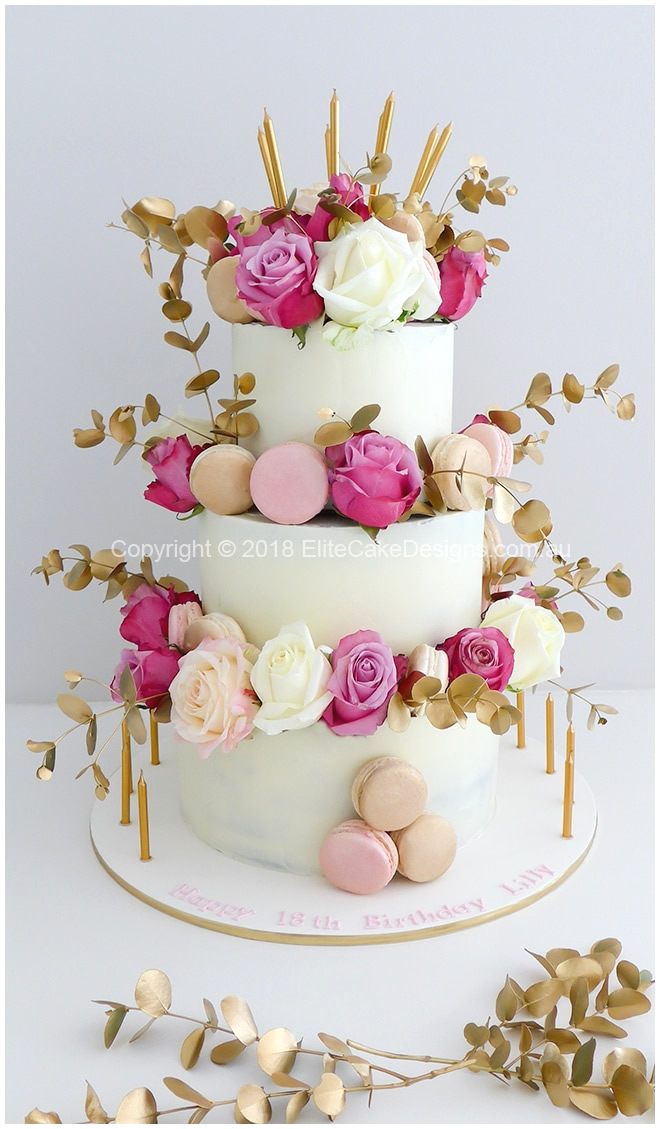 white-gold-pink-roses-semi-naked-cake