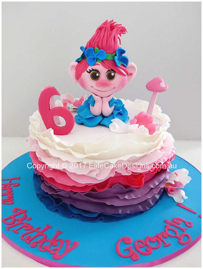 Trolls girls birthday cake idea