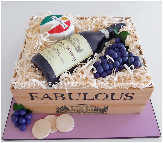 Wine Bottle in a box birthday cake