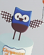 Baby Owl Christening Dessert Buffet Cake for boys