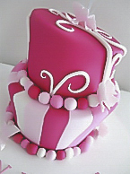Pink butterfly Christening cake for girls