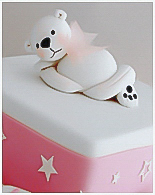 White Teddy Christening Cake