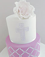 Girls Holy Communion Cake with a cross Sydney