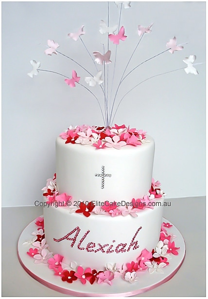 Christening cake for a girl with butterflies and blossoms