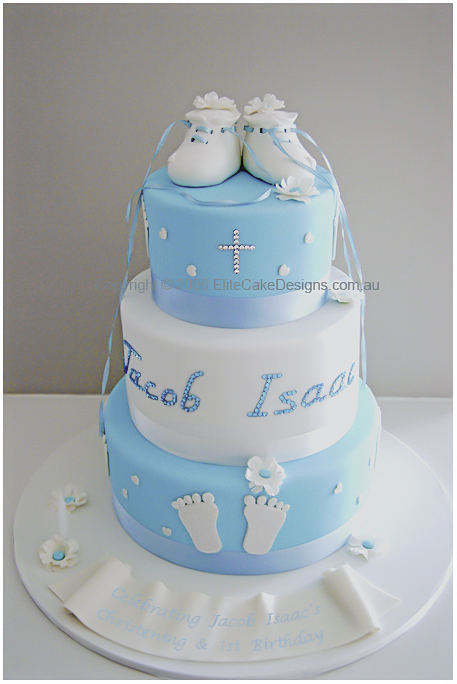 Baby booties 3 tier Christening Cake for boys or girls