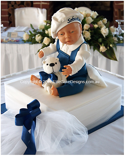 Boy & Teddy Christening Cake