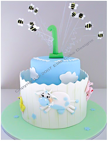 Farm Animals Baby Shower - Birthday Cake