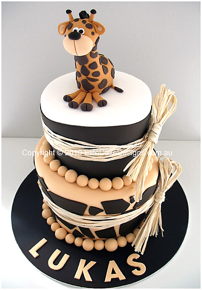 baby giraffe christening cake for boys or girls