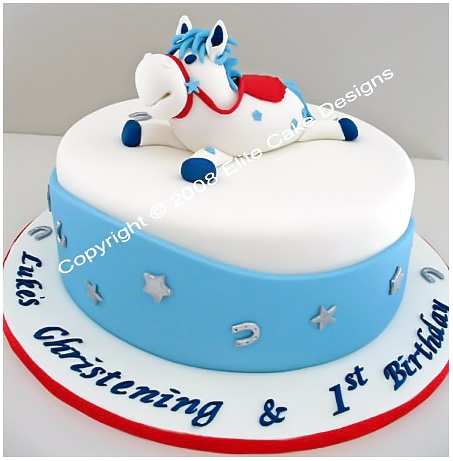 Horsy 1st birthday cake