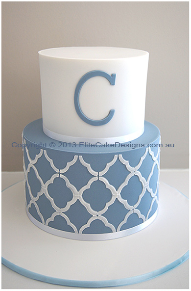Christening Cake with cross pattern