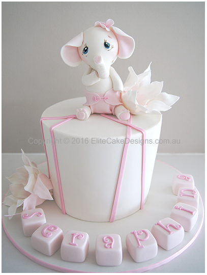 baby elephant christening cake for boy or girl