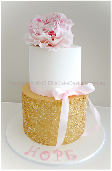 Glamour Christening Cake for a baby girl with gold glitter and sequins