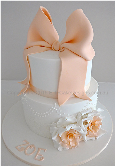 Classic Roses Christening Cake for a baby girl
