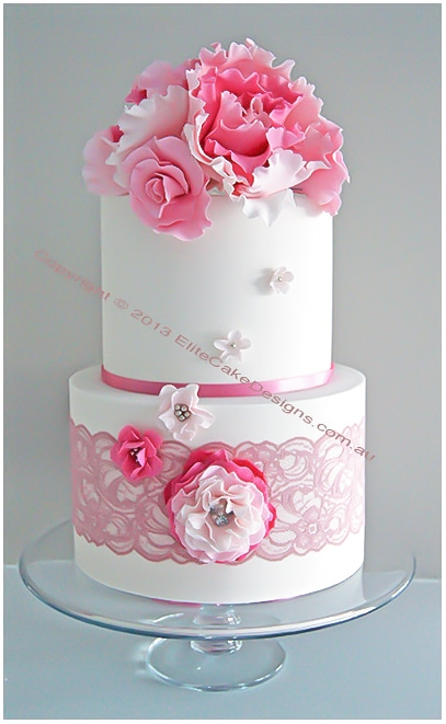 French Rose Christening Cake for a girl