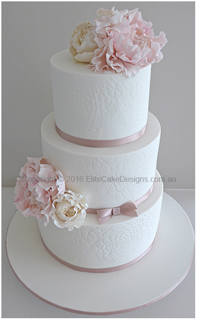 Girls Christening cake with roses and peonies