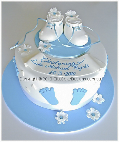 Baby booties Christening Cake for boys