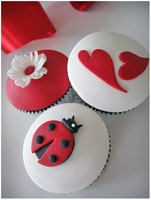 Lady Bug and Hearts cupcakes