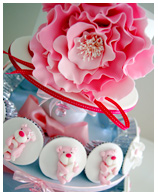 Pink Teddy Christening  Baby Shower Cupcakes