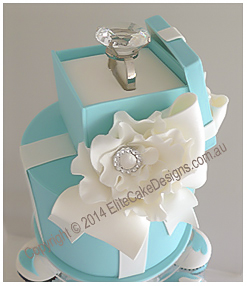 Tiffany & Co Engagement cake with a ring