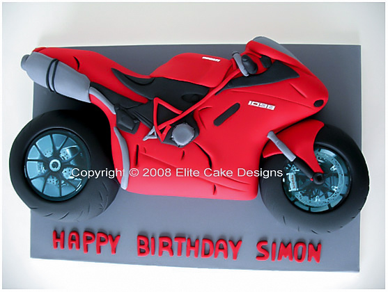 Ducati racing motorbike novelty cake