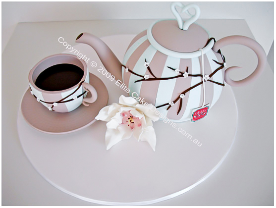 teapot and tea cup  birthday, kitchen tea cake
