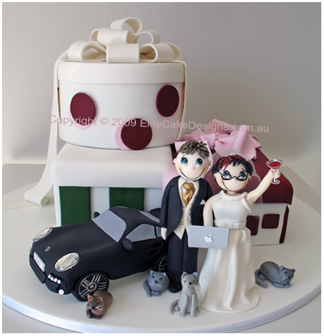 funky couple novelty wedding cake