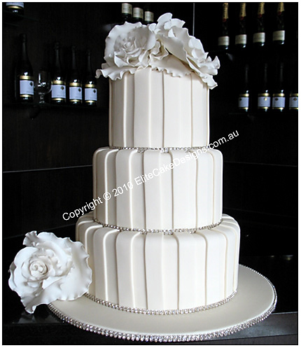 Stripes and Diamonds wedding cake