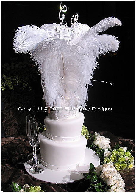 feathers and swarovski crystals wedding cake